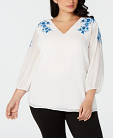 Calvin Klein Plus Size Embroidered Top