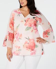 Calvin Klein Plus Size Embellished Floral-Print Top