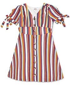 Big Girls Striped Button-Up Dress