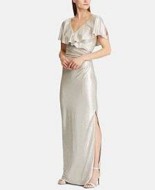 Lauren Ralph Lauren Shimmer Metallic Evening Gown
