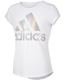 adidas Little Girls Rainbow Climalite® Moisture-Wicking Logo T-Shirt
