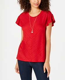Style & Co Eyelet-Detail Flutter-Sleeve Top, Created for Macy's