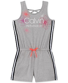Calvin Klein Performance Big Girls Sporty Slim-Fit Floral-Print Logo Romper