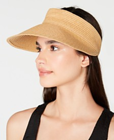 I.N.C. Solid Straw Visor, Created for Macy's