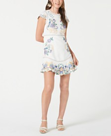 foxiedox Embroidered Flounce-Hem Sheath Dress