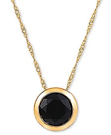 "Onyx (7mm) 18"" Pendant Necklace in 14k Gold"