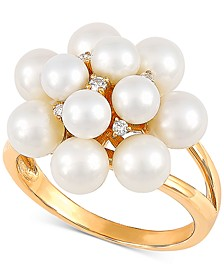Cultured Freshwater Pearl (4-5-1/2mm) & Diamond Accent Statement Ring in 14k Gold, Created for Macy's