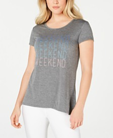 Ideology Weekend Graphic Split-Back T-Shirt, Created for Macy's