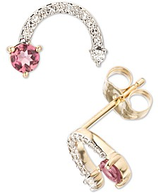 Pink Tourmaline (1/5 ct. t.w.) & Diamond (1/10 ct. t.w.) Arc Stud Earrings in 14k Gold