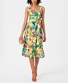Printed Sweetheart-Neck Dress