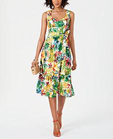 Donna Ricco Printed Sweetheart-Neck Dress