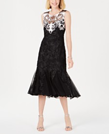 R & M Richards Illusion Soutache Dress