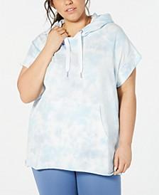 Plus Size Tie Dye Short-Sleeve Hoodie