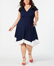 Trendy Plus Size Handkerchief-Hem Fit & Flare Dress