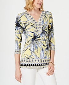 JM Collection Embellished 3/4-Sleeve Top, Created for Macy's
