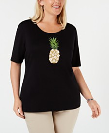 Karen Scott Plus Size Embellished Cotton T-Shirt, Created for Macy's