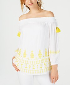 I.N.C. Smocked Embroidered Off-The-Shoulder Top, Created for Macy's