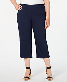 JM Collection Plus Size Rhinestone-Embellished Capri Pants, Created for Macy's