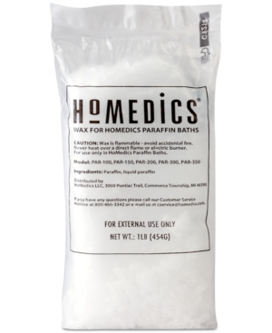 For use with HoMedics paraffin baths only. This product includes two 1-pound packages of pure, hypoallergenic paraffin wax and 20 plastic liners. No scents or dyes to irritate sensitive skin, and convenient 1-pound packages are readily available so you can refill as needed without a mess.