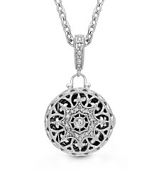 With You Lockets Bea Photo Locket Necklace with Diamond (1/20 ct. t.w.) in Sterling Silver