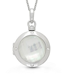 Michelle Mother of Pearl and Quartz Doublet (18mm) with Diamond Accent Photo Locket Necklace in Sterling Silver