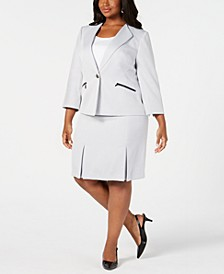 Plus Size Single-Button Zip Skirt Suit