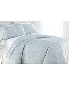 Forget Me Not Cotton Reversible 3 Piece Duvet Cover Set, Full/Queen