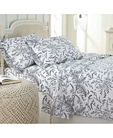 Winter Brush Floral Printed 4 Piece Sheet Set, Twin
