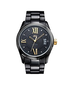 JBW Men's Bond Diamond (1/10 ct.t.w.) Black Ion-Plated Stainless Steel Watch