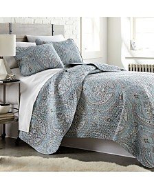Southshore Fine Linens Pure Melody Lightweight Classic Paisley Quilt and Sham Set, Full/Queen