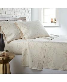 Southshore Fine Linens Soft Floral 4 Piece Printed Sheet Set, Queen