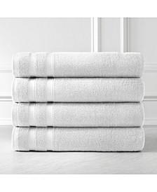 Premium Quality Classic Solid Colored 4 Piece Bath Towels, Towel Set