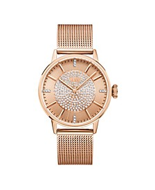 Women's Belle Diamond (1/8 ct.t.w.) 18K Rose Gold Plated Stainless Steel Watch
