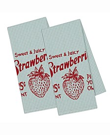 Strawberry Picking Printed Dishtowel