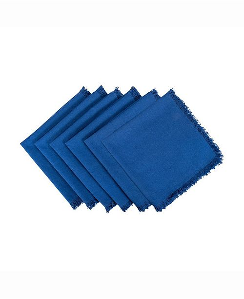 Design Import Solid Navy Heavyweight Fringed Napkin Set of 6