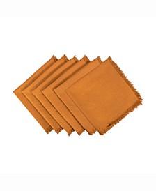 Solid Pumpkin Spice Heavyweight Fringed Napkin Set of 6