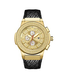 JBW Men's Saxon Diamond (1/6 ct.t.w.) 18k Gold Plated Stainless Steel Watch