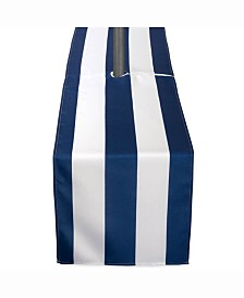 "Nautical Blue Cabana Stripe Outdoor Table Runner with Zipper 14"" X 72"""