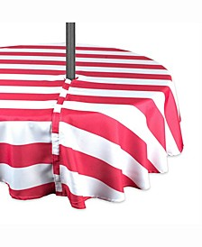 """Coral Cabana Stripe Outdoor Table cloth with Zipper 60"""" Round"""
