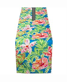 "Summer Floral Outdoor Table Runner with Zipper 14"" X 108"""