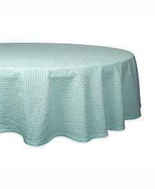 "Aqua Seersucker Table cloth 70"" Round"