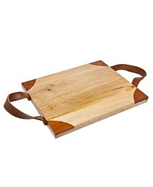 Godinger Wood Tray with Leather Handles