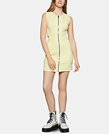 Zip-Front Mini Sheath Dress