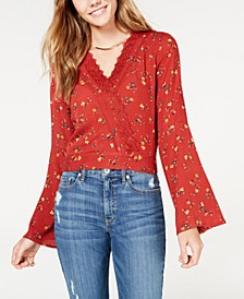 Juniors' Crochet Surplice Top