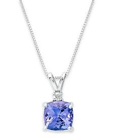 14k White Necklace, Tanzanite (1-5/8 ct. t.w.) and Diamond Accent Cushion Pendant