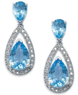 Sterling Silver Earrings, Blue Topaz (6-1/2 ct. t.w.) and Diamond (1/5 ct. t.w.) Pear Drop Earrings