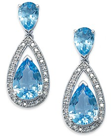 Sterling Silver Earrings, Blue Topaz (6-1/2 ct. t.w.) and Diamond (1/5 ct. t.w.) Pear Drop Earrings (Also available in Citrine and Amethyst)