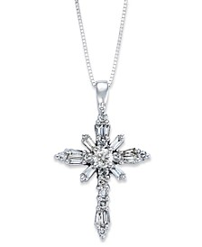 Diamond Baguette Cross Pendant Necklace in 14k White Gold (1/2 ct. t.w.)
