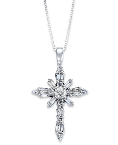 Diamond Baguette Cross Pendant Necklace In 14k White Gold