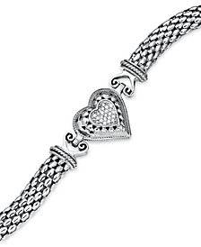 Diamond Mesh Heart Bracelet in Sterling Silver (1/6 ct. t.w.)
